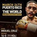 Miguel Cruz vs. Ali Mammadov el 24 marzo desde el 'Orlando Live Events'