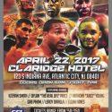 Full card set for this Saturday night at The Claridge Hotel in Atlantic City