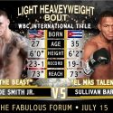 Joe Smith vs. Sullivan Barrera July 15 at the Forum