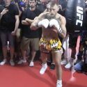Video: Conor McGregor hits heavy bag during Media workout