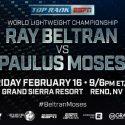 Ray Beltrán peleará por un título mundial y una nueva vida el 16 de febrero por ESPN