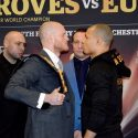 Eubanks Jr and Groves exchange words for a last time before their bout