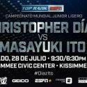 Christopher 'Pitufo' Díaz batallará contra Masayuki Ito por el título Jr. Ligero de la OMB el 28 de julio en Kissimmee